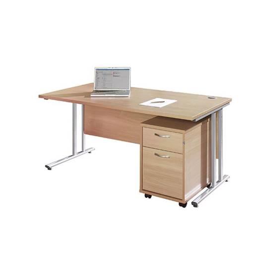 Picture of Maestro Desking - Straight Desk Bundle with 2 Drawer Pedestal - White Worktop